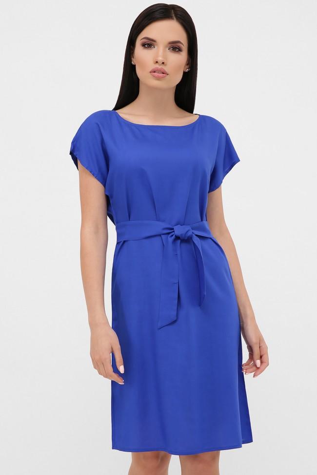 Однотонный летний сарафан ярко синего цвета. PL-1615M