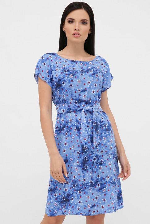 Cарафан с принтом - мелкие цветочки на голубом. PL-1471T
