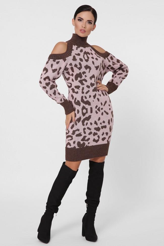 Вязаное платье с леопардовым принтом на розовом VPA0002