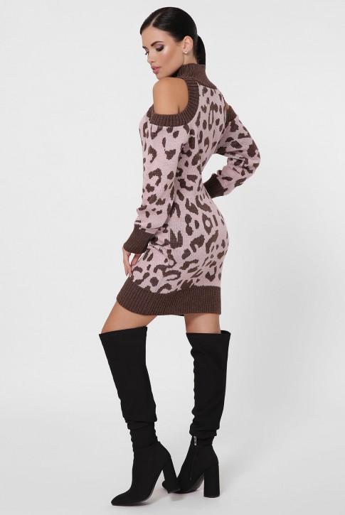 Вязаное платье с леопардовым принтом на розовом VPA0002 (фото 2)