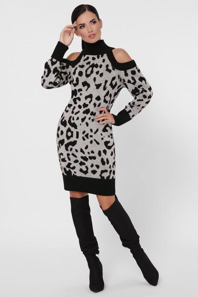 Вязаное платье с черным леопардовым принтом. VPA0003