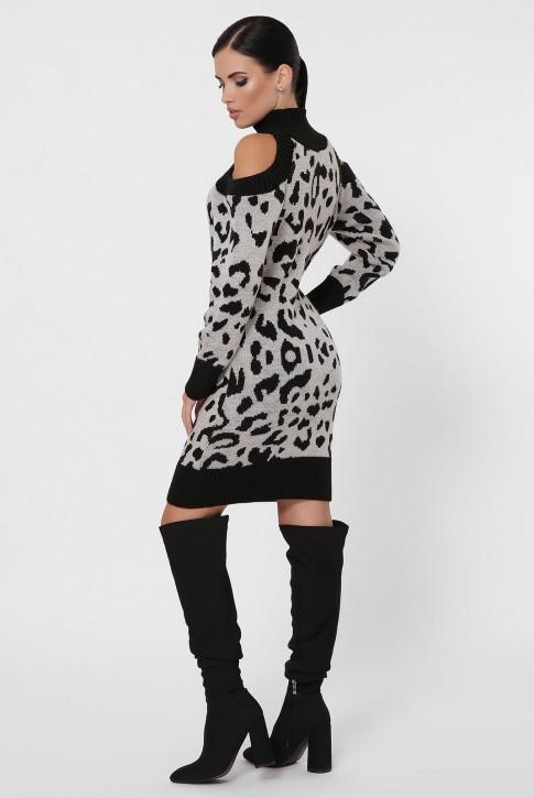 Вязаное платье с черным леопардовым принтом. VPA0003 (фото 2)