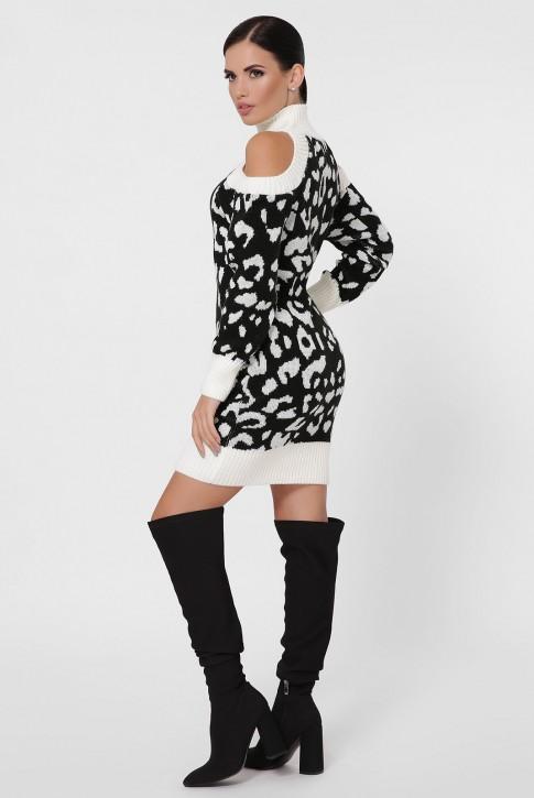 Вязаное платье открытыми плечами и длиной выше колена. VPA0004 (фото 2)