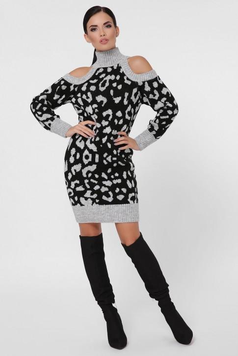 Платье вязаное с черным леопардовым принтом на светло-сером. VPA0005