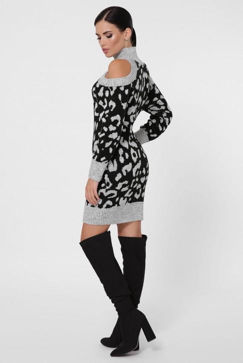 Платье вязаное с черным леопардовым принтом на светло-сером. VPA0005 (фото 2)