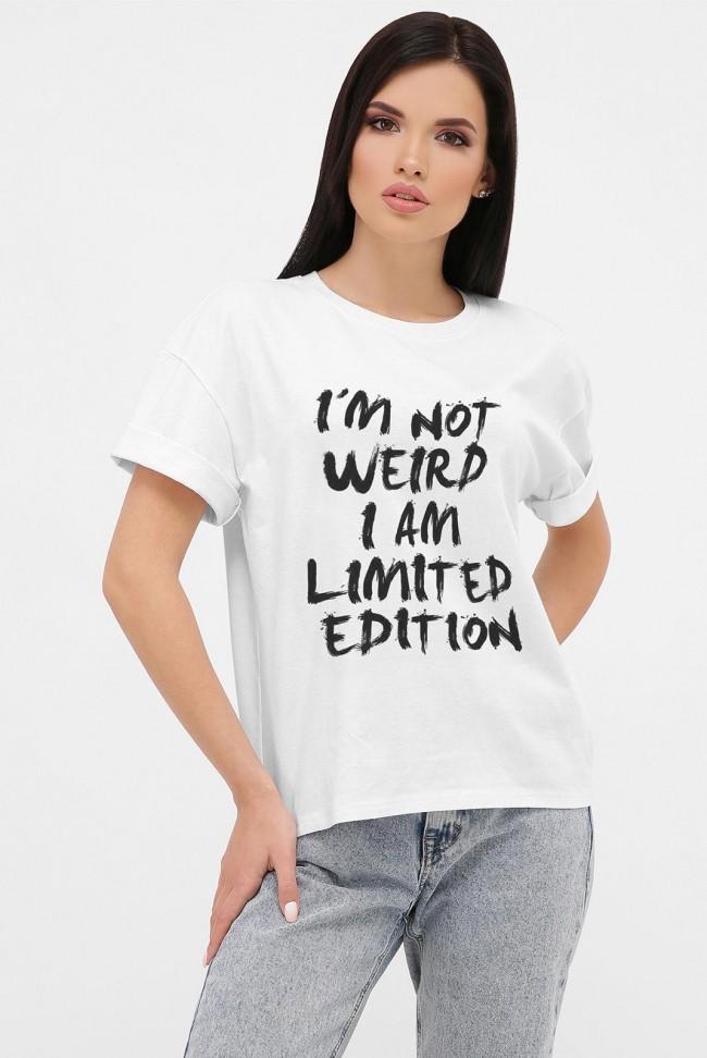 Женская футболка со спущенным рукавом и текстовым принтом. FB-1019