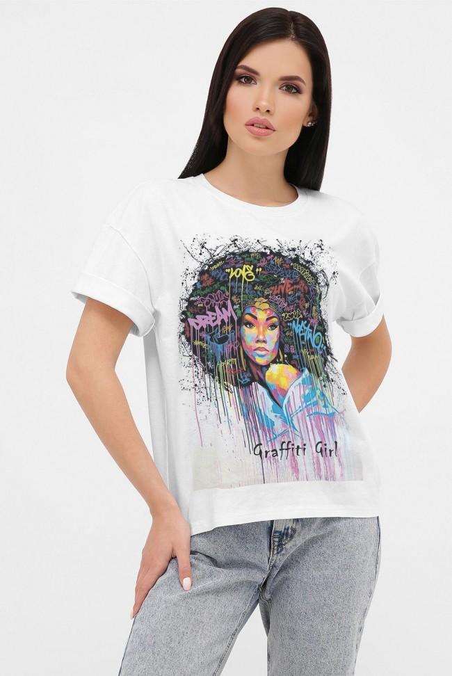 Женская футболка с принтом в виде граффити. FB-1020