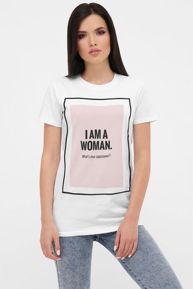 Женская футболка с принтом I Am Woman. FB-1006