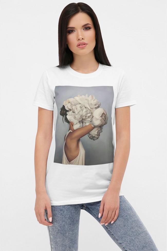 Женская футболка девушка с пионами, модель с коротким рукавом. FB-1004