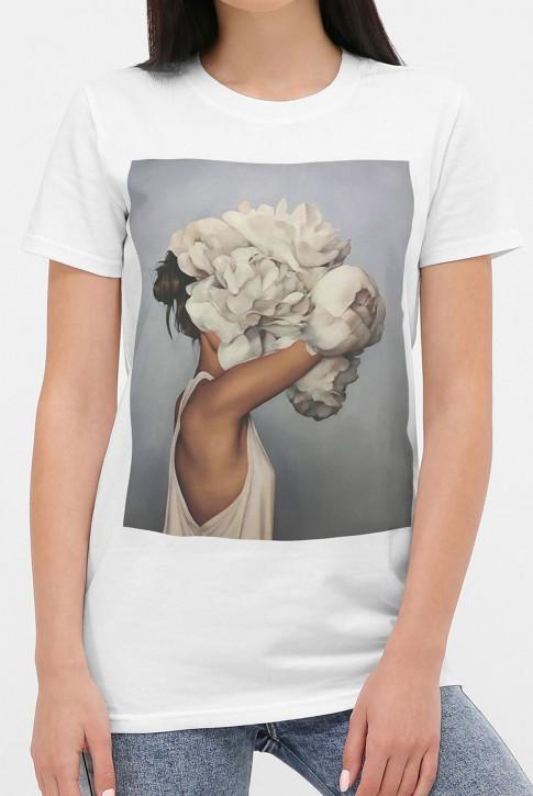 Женская футболка девушка с пионами, модель с коротким рукавом. FB-1004 (фото 2)