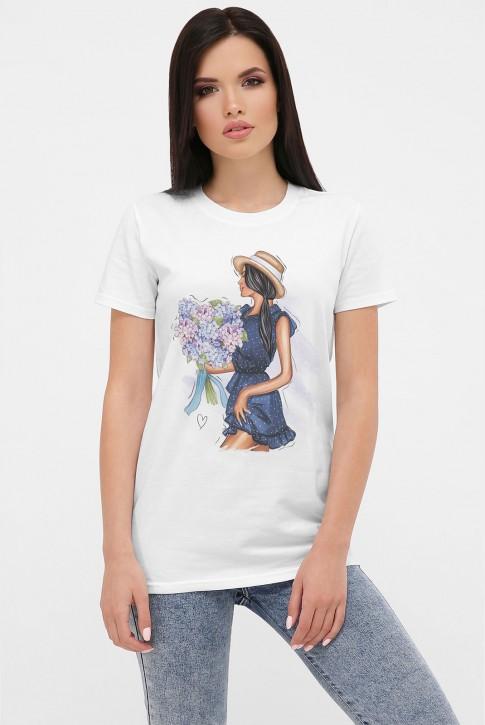 Летняя женская футболка, принт девушка с букетом. FB-1002