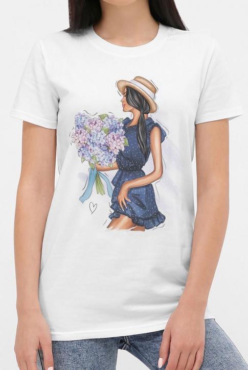 Летняя женская футболка, принт девушка с букетом. FB-1002 (фото 2)