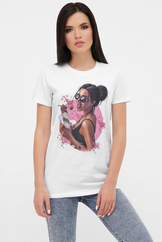 Женская футболка с принтом очаровательная девушка. FB-1001