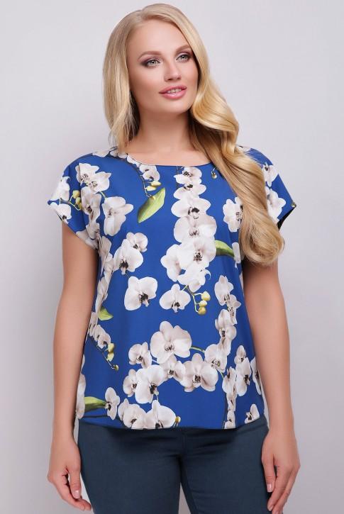 Женская футболка большого размера с принтом синего оттенка. FB-1610H1