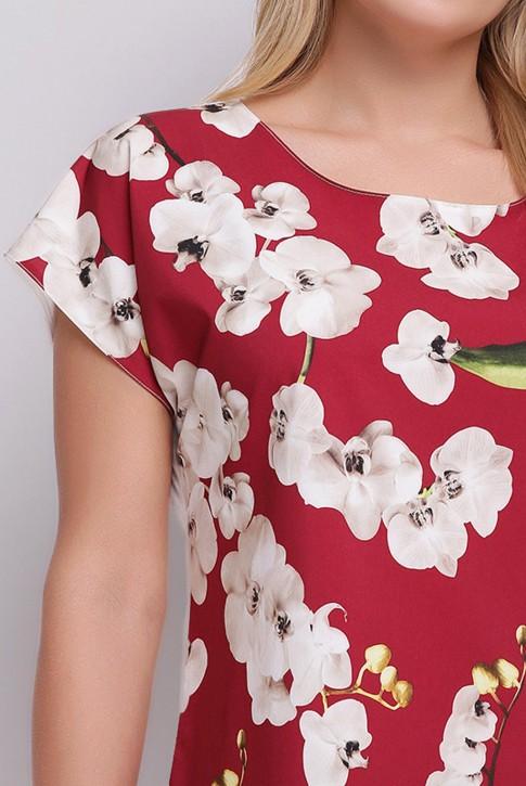 Женская футболка батального размера с цветочным принтом спереди. FB-1610I (фото 2)