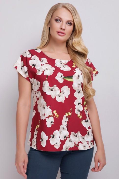 Женская футболка батального размера с цветочным принтом спереди. FB-1610I