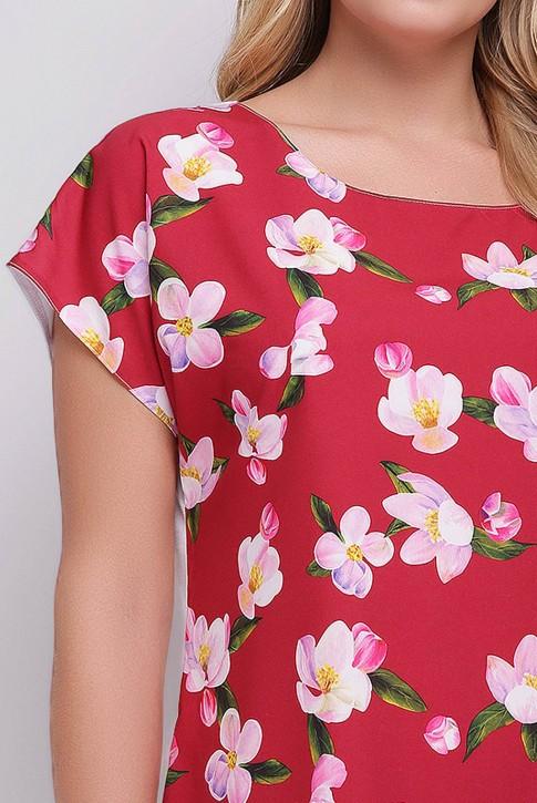 Женская футболка большого размера с принтом красного оттенка. FB-1610F2 (фото 2)