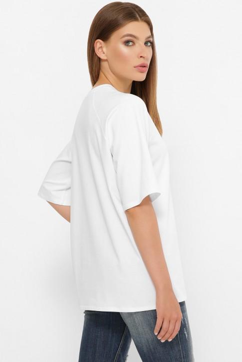 Женская белая футболка реглан без рисунка. FB-00RW (фото 2)