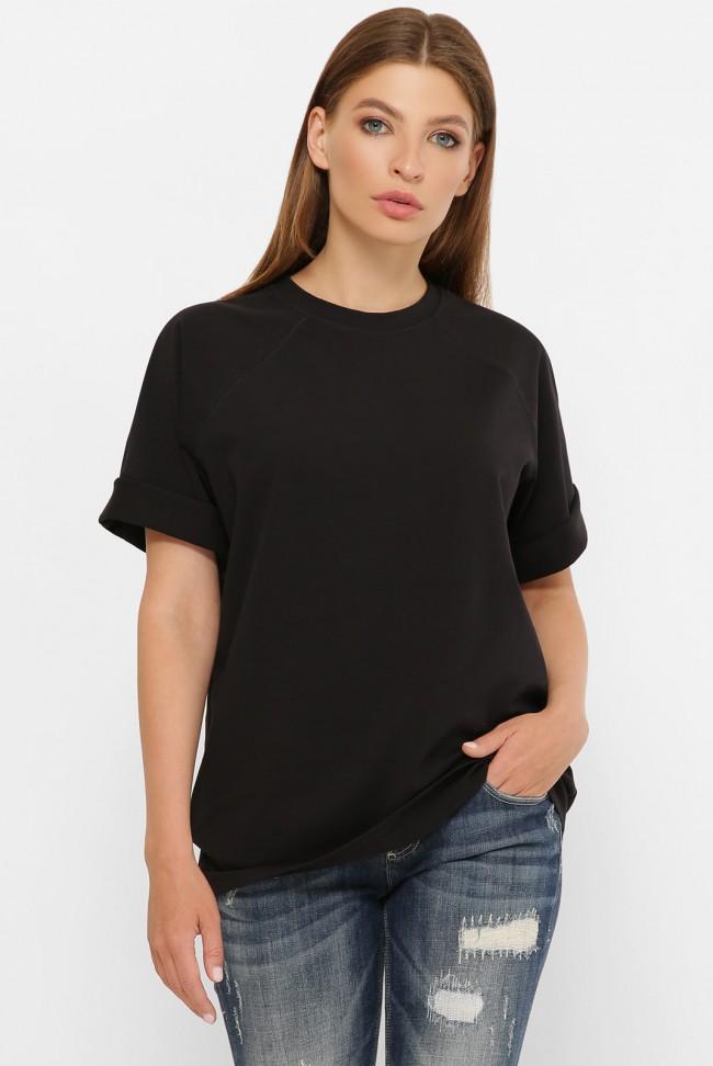 Женская черная футболка реглан без рисунка. FB-00RK