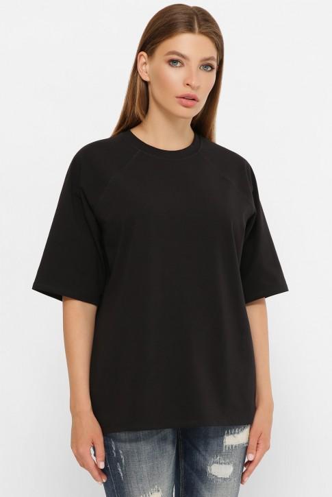 Женская черная футболка реглан без рисунка. FB-00RK (фото 2)