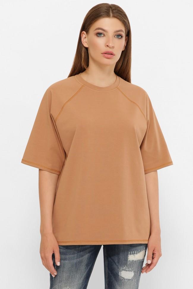 Женская футболка реглан кофейного цвета. FB-00RC