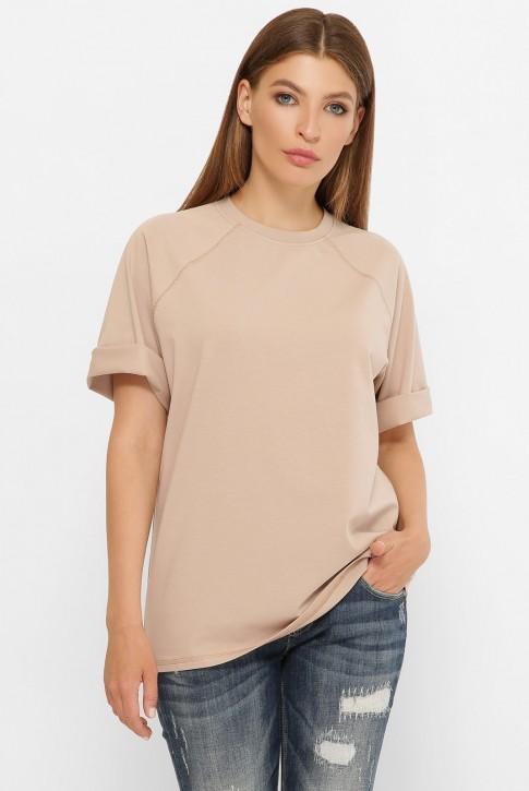Женская футболка реглан бежевого цвета. FB-00RB