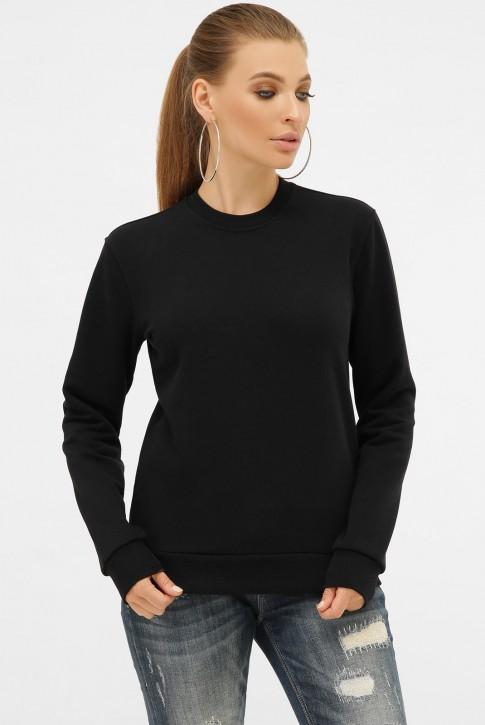 Черный женский свитшот без рисунка с мягкой изнанкой. SV-00CK (фото 2)