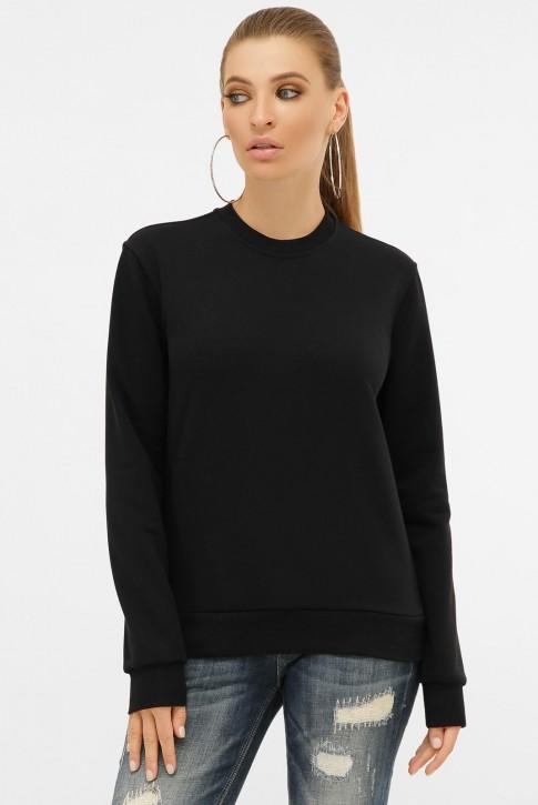 Черный женский свитшот без рисунка с мягкой изнанкой. SV-00CK