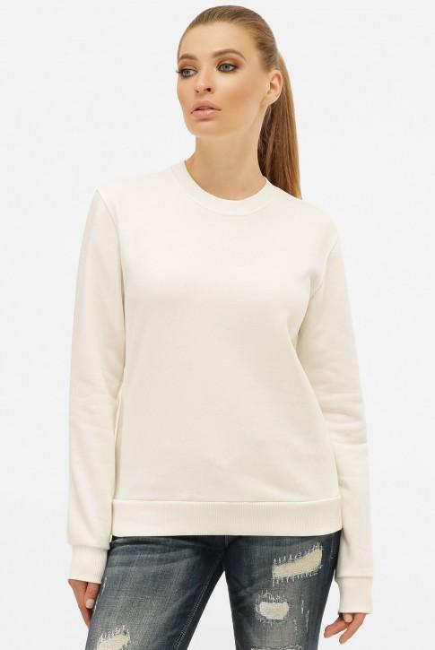Женский свитшот белого молочного цвета без рисунка с мягкой изнанкой. SV-00CM