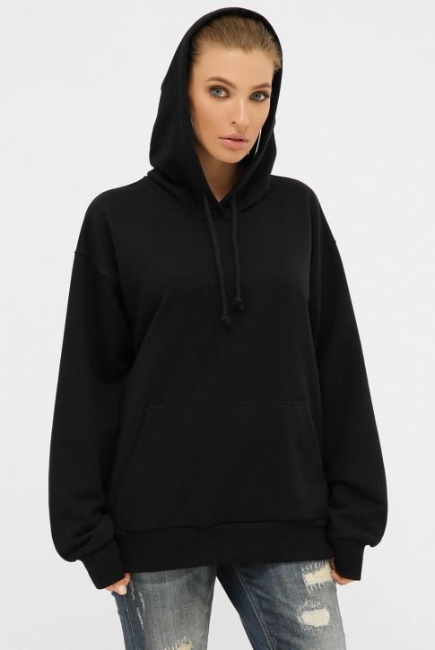 Черное женское худи с карманом кенгуру. HD-00KK
