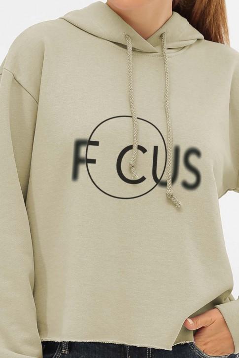 Укороченный худи с надписью FOCUS, оливковый HD-1023SV (фото 2)