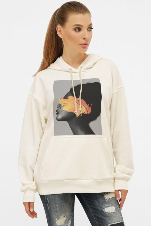 Худи с карманом и арт-принтом Yellow Girl, молочно-белый HD-1014KM