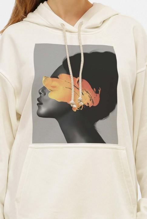 Худи с карманом и арт-принтом Yellow Girl, молочно-белый HD-1014KM (фото 2)