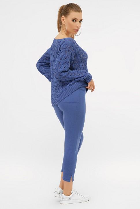 Ажурный вязаный костюм, синий электрик VKV0011 (фото 2)