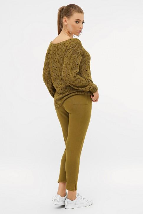 Ажурный вязаный костюм, болотный зеленый VKV0008 (фото 2)