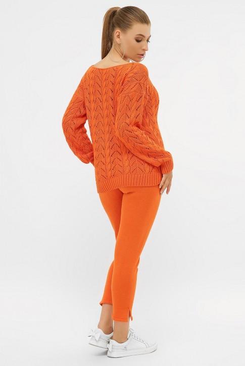 Ажурный вязаный костюм, оранжевый VKV0006 (фото 2)