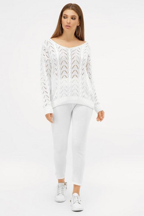 Ажурный вязаный костюм, молочно-белый VKV0005
