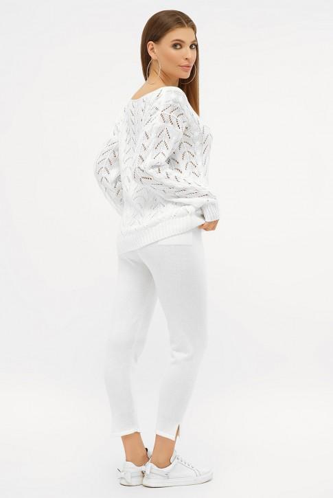 Ажурный вязаный костюм, молочно-белый VKV0005 (фото 2)