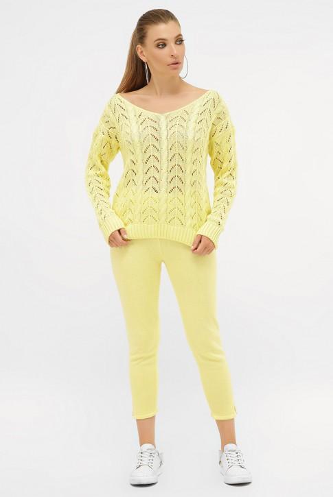 Ажурный вязаный костюм, лимонный VKV0004