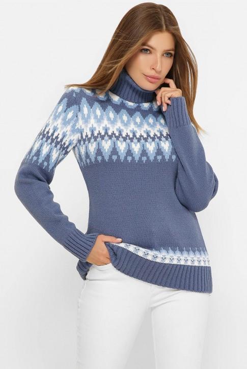 Свитер под горло женский, синий джинс SVK0001