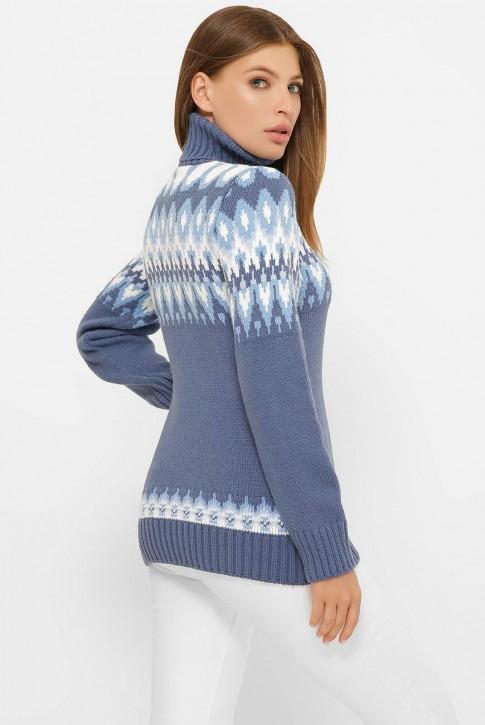 Свитер под горло женский, синий джинс SVK0001 (фото 2)