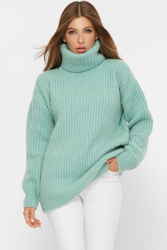 Вязаная свитер-туника под горло теплая, мятная VPE0007