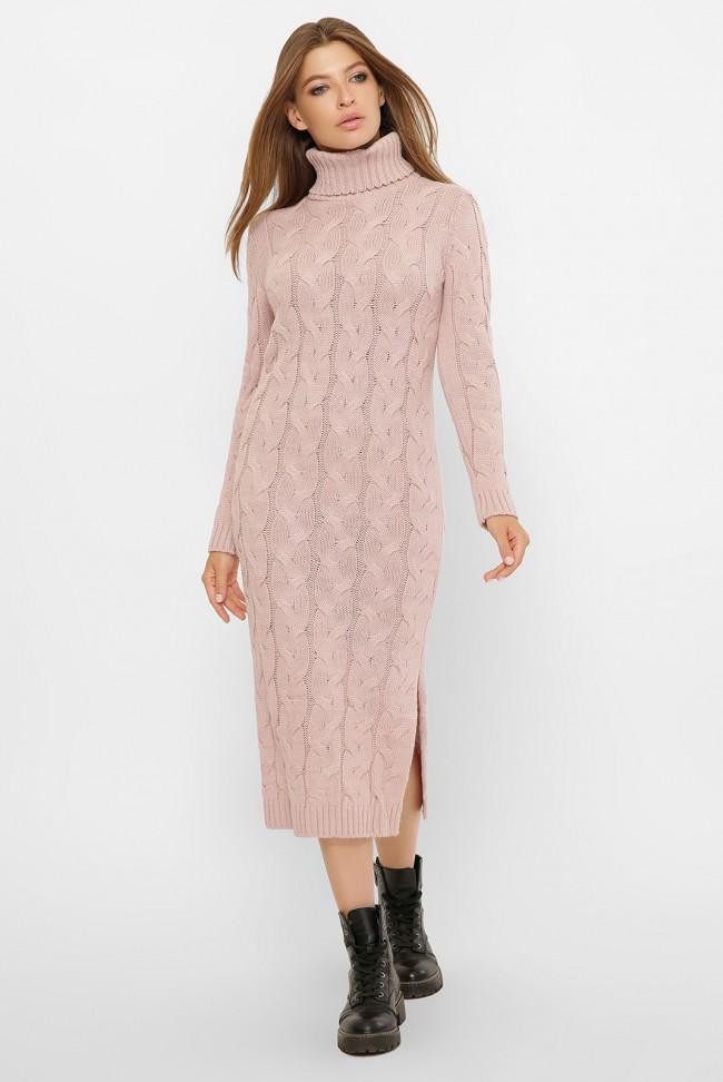Вязаное длинное платье под горло, светлая-пудра VPC0001