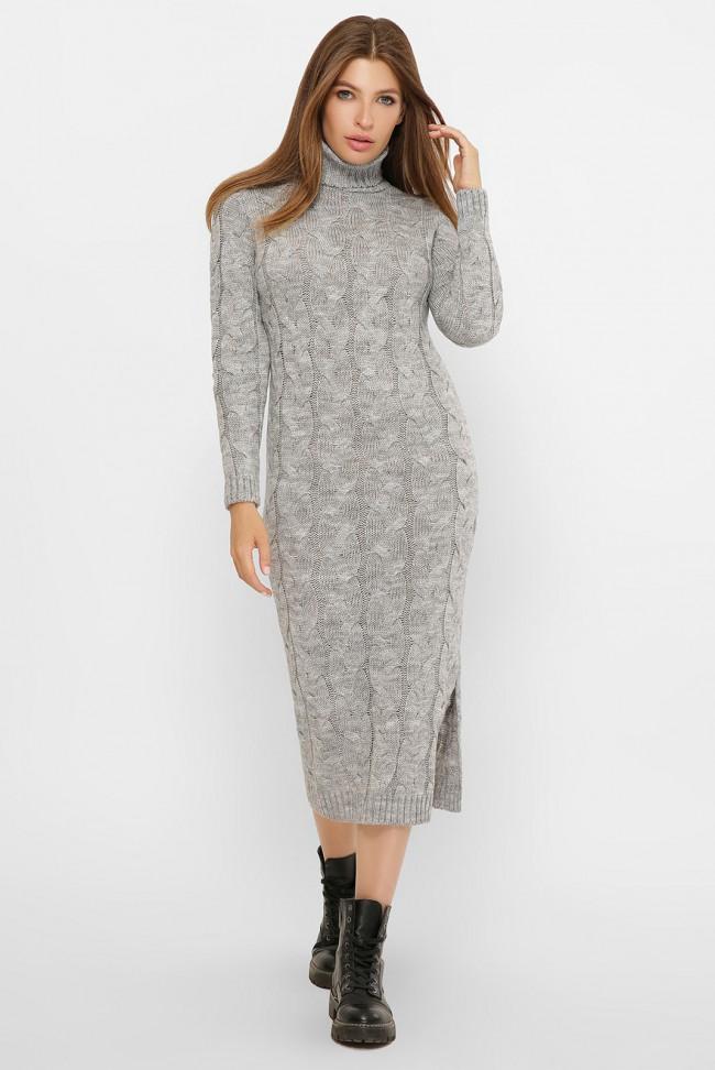 Вязаное длинное платье под горло, светло-серое VPC0002