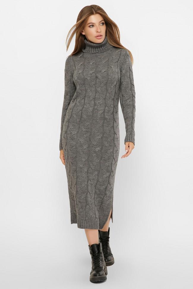 Вязаное длинное платье под горло, серый графит VPC0006