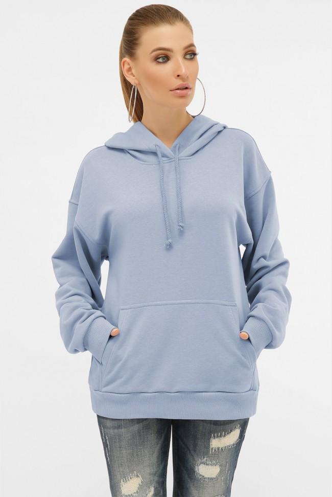 Женское худи с карманом кенгуру, голубой HD-00KU