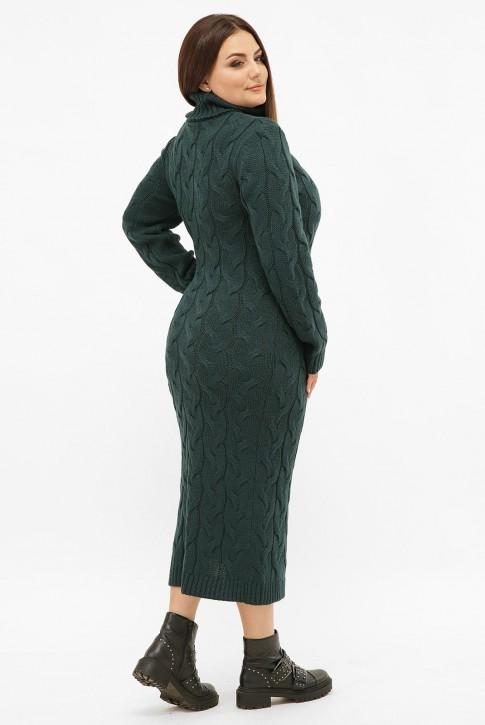 Платье длинное вязаное батал под горло, темно-зеленое VPCB011 (фото 2)