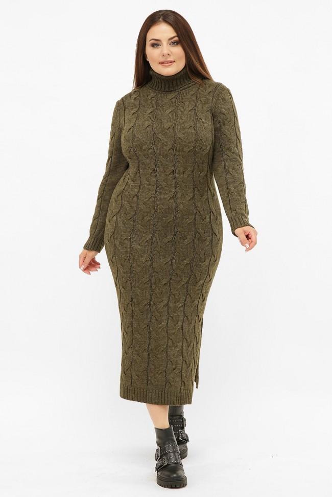 Платье длинное вязаное батал под горло, хаки VPCB010