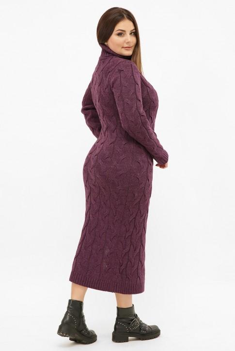 Платье длинное вязаное батал под горло, баклажан VPCB009 (фото 2)