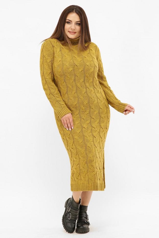 Платье длинное вязаное батал под горло, горчичное VPCB008